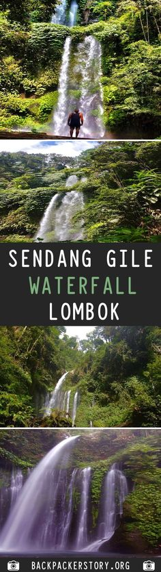 Sendang Gile Waterfall is located just north of Rinjani volcano, In the north region of the island of Lombok in Indonesia. Lombok, Backpacker, Volcano, Waterfall, Destinations, Island, Big, Pictures, Outdoor