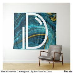 Blue Watercolor D Monogram Tapestry Marble Tapestry, Christmas Card Holders, Bed Spreads, Vivid Colors, Picnic Blanket, Monogram, Watercolor, Artwork, Prints
