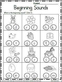 Free Beginning Sounds Worksheets . Free Beginning Sounds Worksheets. Look at each each picture and color the beginning sound. Kindergarten and preschool Preschool Letters, Free Preschool, Preschool Lessons, Alphabet Activities, Preschool Learning, Jolly Phonics Activities, Preschool Phonics, Teaching Resources, Preschool Reading Activities