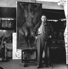 Diego Rivera in his studio. His daughter by Russian Painter, Marevna later lived at Athelhampton House in Dorset.