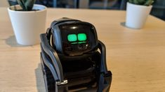 Vector Robot Vector conveys emotion through his big, cartoon-like eyes, thanks to Anki& . Cozmo Robot, Vector Robot, Robot Hand, New Inventions, Big Eyes, Thankful, Kitchen Things, Cartoon, Abstract