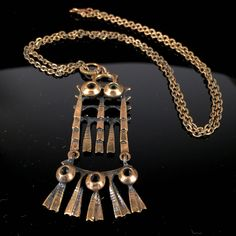 Shops, Bronze, Metal Necklaces, See Photo, Jewelery, Chain, Pendant, Brutalist, Design