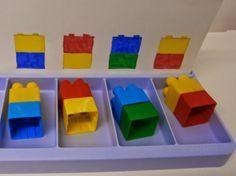 idéesautisme: Suivi de modèles (avec des légos) Lego Math, Lego Craft, Lego Duplo, Montessori Trays, Montessori Activities, Autism Activities, Activities For Kids, Legos, Autism Education