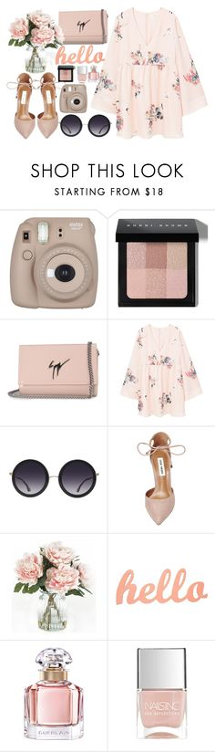 """""""#322"""" by vilte-m ❤ liked on Polyvore featuring Fujifilm, Bobbi Brown Cosmetics, Giuseppe Zanotti, MANGO, Alice + Olivia, Steve Madden, Home Decorators Collection, Guerlain and Nails Inc."""