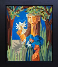 Modern Figurative Woman Surrounded by Trees Blue Sky Signed LTD Giclee Print Canvas Ethnic Tropical Decor Dove Spirit Animals Flowers by SierraFineArt on Etsy