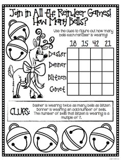 "A Holiday Math Freebie For You, From Me! FREE ""Reindeer Games Brain Busters"" in this blog post - perfect for those antsy days before winter break!"