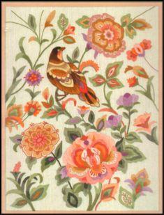 "VINTAGE ELSA WILLIAMS FLORAL ""BIRD BROCADE"" CREWEL EMBROIDERY KIT ~ SEALED #ElsaWilliams"