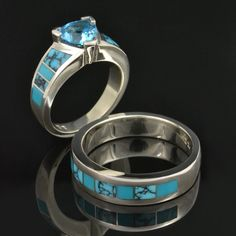 Spiderweb Turquoise And Wedding Ring In Sterling Silver By Hileman
