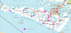 Map of Hiking Trails, Manitoulin Island, Northern Ontario Canada