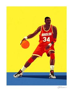 Print of Hakeem Olajuwon of the Houston Rockets. 17 x 22 — Open Edition Printed on exhibition grade paper. Basketball Is Life, Basketball Legends, Basketball Uniforms, Basketball Hoop, Basketball Jersey, Basketball Stuff, Basketball Jones, Hakeem Olajuwon, Nba Pictures