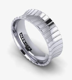 Men's concave wedding band in platinum or white gold