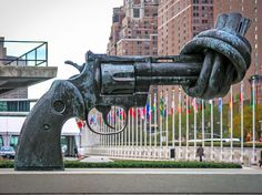 The Knotted Gun by Carl Fredrik Reuterswärd. Aptly located next to the United Nations in New York, the sculpture has come to represent hope for a nonviolent future. The piece—commissioned by Luxembourg as a gift for the UN—has been cited as one of the inspirations behind the arms-to-art movement. Read on for more incredible public sculptures.