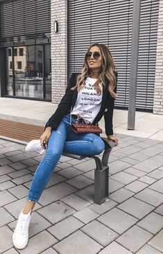 Stylish Summer Outfits, Winter Fashion Outfits, Look Fashion, Fall Outfits, Casual Outfits, Cute Outfits, Outfit Jeans, Blazer Outfits, Jean Outfits