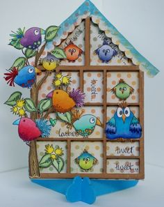 Chipboard mini printer tray, turned into a bird condo! :) Stamps by JOFY from PaperArtsy. Available at www.thestamproom.com