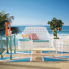 Vogue Outdoor Furniture Collection by Grandin Road....I love the retro feel of this metal furniture that comes in four amazing colors!