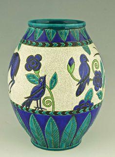 Charles CATTEAU Art Deco Ceramic vase gazelles & birds, Decor Kioto, 1924. Signature & Marks: Keramis made in Belgium stamp. D 896 (created in 1924) La Maitrise. Impressed number. 963  (hva)