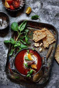 Tomato Soup with Black Truffle Burrata via Bakers Royale