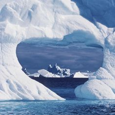 Mother nature likes to play with the wind and creates outstanding sculptures like this heart shaped in an iceberg near Peter First Island - Antarctica