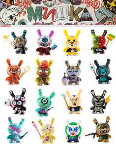"""BLIND BOX 3"""" DUNNY SERIES Featured Mishka House Artist: Greg Rivera, L'amour…"""