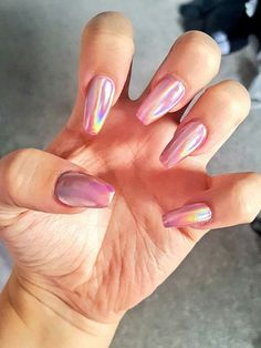 Pink holographic nails