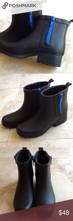 Lucky Brand Rhandi Rubber Boots EUC Must have for rainy days or an awesome fashion statement. They sell new for about 85.00. They were worn once. Double side zippers. Black rubber. Fabric lining. Lucky Brand Shoes Winter & Rain Boots