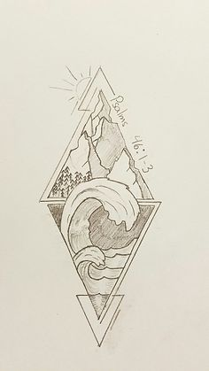 Psalms 46: 1-3 represented with geometric triangles. #tattoo #psalms #geometric #mountains #waves