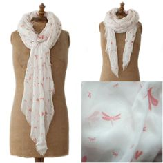 www.Lizzielane.com Tutti and Co Milk with Coral Dragonfly Flock Scarf Now £22.10 http://www.lizzielane.com/product/tutti-co-milk-coral-dragonfly-flock-scarf/