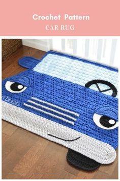 Jimmy The Hybrid Car Rug Crochet Pattern #crochetpattern #rugcrochetpattern #carrugcrochetpattern #carcrochetpattern Affiliate Link Crochet Rug Patterns, Crochet Motifs, Crochet Stitches, Knitting Patterns, Crochet Rugs, Crochet Carpet, Crochet Home, Easy Crochet, Free Crochet