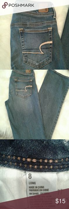 American  Eagle  jeans AEO Jeans  American Eagle  outfitters Kick boot super stretch 32 in inseam. 8 in rise 15 in waist. American Eagle Outfitters Jeans Boot Cut