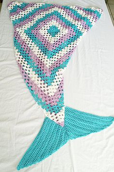 Crochet Mermaid Tail Blanket mermaid tail by StephanieTwistedYarn