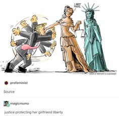 """I got this"" Trump cartoon, lady justice backing up lady liberty Donald Trump, Lady Justice, Funny Memes, Hilarious, Faith In Humanity, Political Cartoons, Political Art, Trump Cartoons, Political Memes"