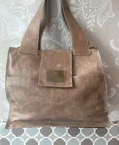 Taupe leather tote distressed leather tote oversized by Percibal
