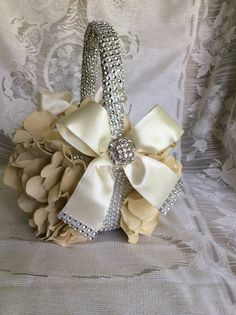 custom ivory/cream flower girl basket with brooch and bows and bling wedding basket flower girl gift