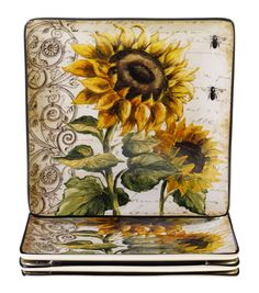 Features:  -Hand decorated.  -Made of durable stoneware.  -Generous size.  -Dishwasher safe.  -French Sunflowers collection.  Color: -Yellow.  Material: -Stoneware.  Number of Items Included: -4.  Pat