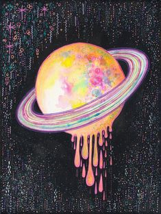 Melting away Art Print by Asja Boros - X-Small Trippy Painting, Space Painting, Painting & Drawing, Galileo Galileo, Trippy Drawings, Cartoon Drawings, Spiritual Paintings, Hippie Art, Dope Art