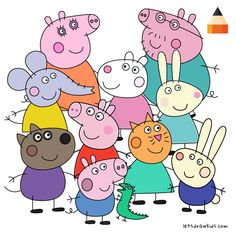 Learn How To Draw Peppa Pig Characters with this step-by-step tutorial and video. Realistic Animal Drawings, Cartoon Drawings, Easy Drawings, Peppa Pig Drawing, Baby Animals, Funny Animals, Pig Character, Slime Craft, George Pig