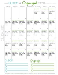 Clean + Organized 2013 – FREE August Cleaning Calendar