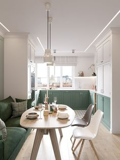 Sophisticated Scandinavian Style Home With Green Decor - Home Design Interior Design Kitchen, Green Decor, House Interior, Apartment Decor, Interior, Scandinavian Style Home, Apartment Design, Green Dining Room, Home Decor