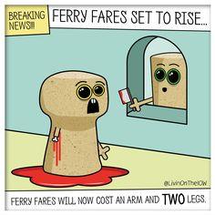 BREAKING NEWS: Ferry fares set to rise... #isleofwight #iow #banter #illustration #cartoon #2dart #graphicdesign #caulkheads #islandlife #humour #ferry #expensive #blood