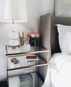 Get inspired by these glass nightstand ideas for your master decoration! Dresser With Mirror, Nightstand Ideas, Unique Nightstands, Ikea Hack Nightstand, Gold Dresser, Home Bedroom, Bedroom Decor, Bedrooms, Decorating Rooms