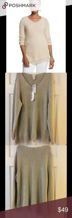"""🆕 Chico's sz 3 Asymmetrical Hem Abby Pullover Cozy up to this softly textured sweater. Sparkling threads are woven through the subtle diagonal knit, while chiffon trim completes the look. V-neck. 95% cotton, 5% Lurex®. Underarm across 22"""". Length 28"""". Brand new with tag. Retail price $99. Chico's Sweaters V-Necks"""