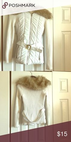 White Faux fur collar jacket Knit arms and belt j.j basics Jackets & Coats Puffers