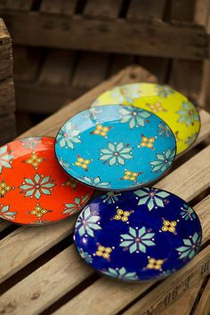 Handpainted Bright Ceramic Plates - Mothology.com