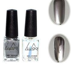 LULAA 2Pcs Set 6ml Behind Silver Mirror Effect Metal Nail Polish Varnish Base Coat Metallic Nails. Click visit to buy #Nail #Polish #NailPolish
