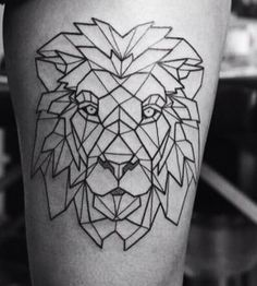 Geometric lion leg tattoo