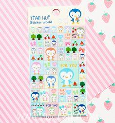 Korean Tian Hui Stickers from Pikku Shop   www.pikku-shop.com   #kawaii #stickers #penguin #cute Kawaii Stickers, Cute Stationery, Korean, Love You, Korean Language, Je T'aime, I Love You