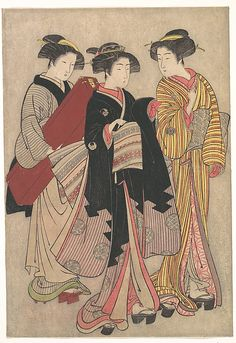 Two Geishas Out Walking  Kitao Shigemasa  (Japanese, 1739–1820)  Period: Edo period (1615–1868) Culture: Japan Medium: Polychrome woodblock print; ink and color on paper