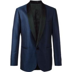 Versace geometric jacquard tuxedo jacket (3,485 CAD) ❤ liked on Polyvore featuring men's fashion, men's clothing, blue and versace mens clothing