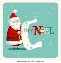 Christmas card with Santa. Vector. Editable. - Shutterstock Premier