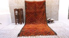 OLD Red Vintage 6x13 Moroccan Berber Tribal Rug Kilim Moroccan Carpet, Vintage Deco, Hand Woven Rug, Contemporary rug, Morocco carpet